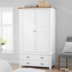 Sandringham Wooden 2 Doors And 2 Drawers Wardrobe In Oak And White