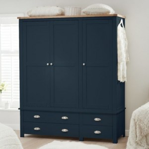 Sandringham Wooden 3 Doors And 4 Drawers Wardrobe In Oak And Blue