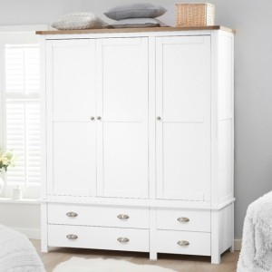 Sandringham Wooden 3 Doors And 4 Drawers Wardrobe In Oak And White