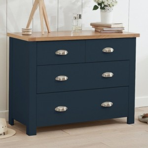 Sandringham Wooden Chest Of 4 Drawers In Oak And Blue