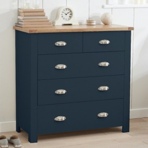 Sandringham Wooden Chest Of 5 Drawers In Oak And Blue