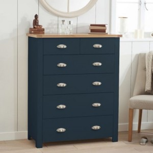 Sandringham Wooden Chest Of 6 Drawers In Oak And Blue