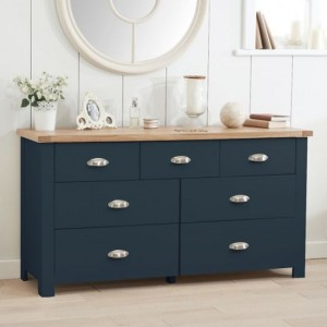 Sandringham Wooden Chest Of 7 Drawers In Oak And Blue