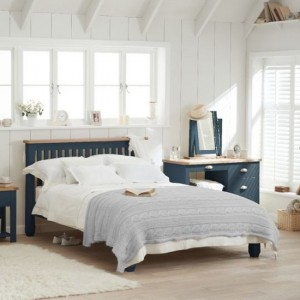 Sandringham Wooden Double Bed In Oak And Blue