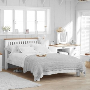 Sandringham Wooden Double Bed In Oak And White