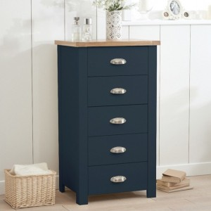 Sandringham Wooden Narrow Chest Of 5 Drawers In Oak And Blue