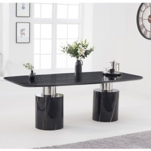 Santiago Large Marble Dining Table In Black