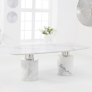 Santiago Large Marble Dining Table In White