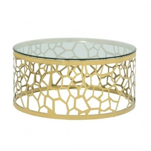 Sapphira Clear Glass Coffee Table In Gold Strainlees Steel Frame