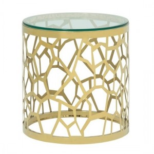 Sapphira Clear Glass Lamp Table In Gold Strainlees Steel Frame