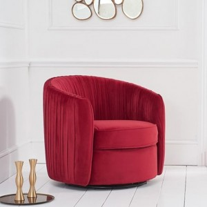 Sarana Velvet Swivel Armchair In Russett