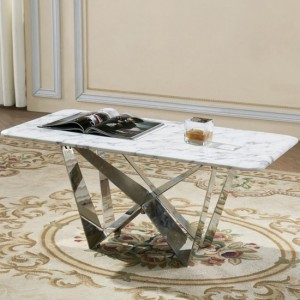 Sardinia Marble Coffee Table In Grey With Stainless Steel Base