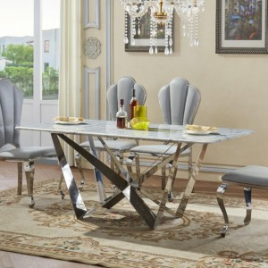 Sardinia Marble Dining Table In White With Stainless Steel Base