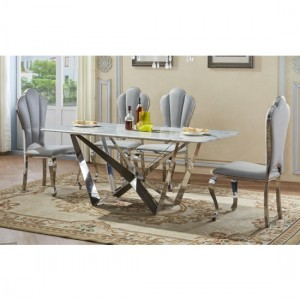 Sardinia Natural Stone Marble Dining Set In Lacquer With 6 Chairs