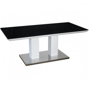 Sasha Black Painted Glass Coffee Table With Black And White Base