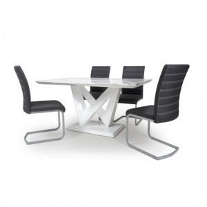 Saturn High Gloss Grey And White Marble Effect Dining Table With 4 Callisto Black Leather Chairs