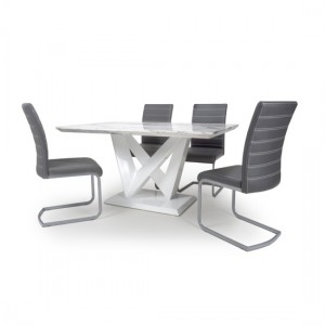 Saturn High Gloss Grey And White Marble Effect Dining Table With 4 Callisto Grey Leather Chairs