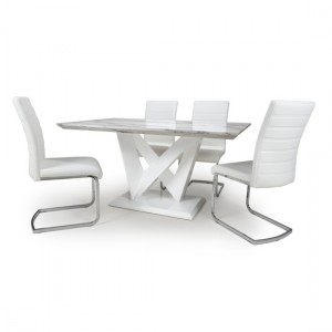 Saturn High Gloss Grey And White Marble Effect Dining Table With 4 Callisto White Leather Chairs