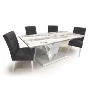 Saturn High Gloss Grey And White Marble Effect Dining Table With 4 Moseley Steel Grey Chairs