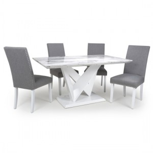 Saturn High Gloss Grey And White Marble Effect Dining Table With 4 Randall Silver Grey Chairs
