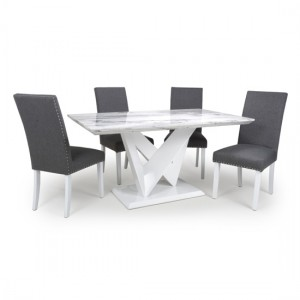 Saturn High Gloss Grey And White Marble Effect Dining Table With 4 Randall Steel Grey Chairs