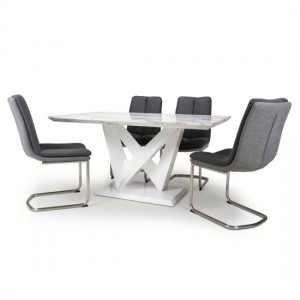 Saturn High Gloss Grey And White Marble Effect Dining Table With 4 Triton Dark Grey Chairs