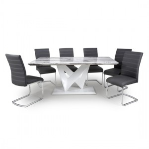 Saturn Large Gloss Grey White Marble Effect Dining Table With 6 Callisto Leather Black Dining Chairs
