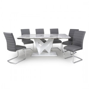 Saturn Large Gloss Grey White Marble Effect Dining Table With 6 Callisto Leather Grey Dining Chairs