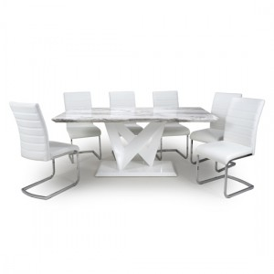 Saturn Large Gloss Grey White Marble Effect Dining Table With 6 Callisto Leather White Dining Chairs