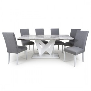Saturn Large Gloss Grey White Marble Effect Dining Table With 6 Randall Linen Silver Grey Dining Chairs