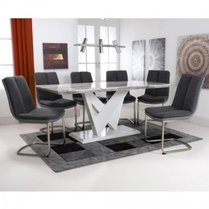 Saturn Large Gloss Grey White Marble Effect Dining Table With 6 Triton Linen Dark Grey Dining Chairs