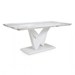 Saturn Large Marble Effect Top Dining Table In Grey And White High Gloss
