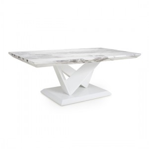 Saturn Marble Effect Top Coffee Table In High Gloss Grey And White