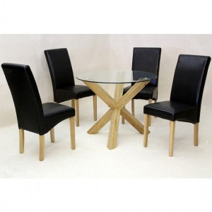 Saturn Medium Round Clear Glass Dining Set With 4 Chairs
