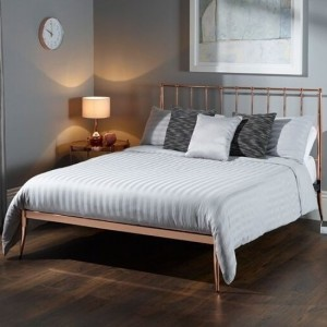Saturn Metal Small Double Bed In Rose Gold