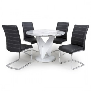 Saturn Round Gloss Grey White Marble Effect Dining Table With 4 Callisto Black Leather Dining Chairs