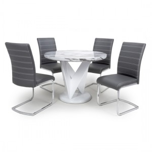 Saturn Round Gloss Grey White Marble Effect Dining Table With 4 Callisto Grey Leather Dining Chairs