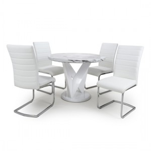Saturn Round Gloss Grey White Marble Effect Dining Table With 4 Callisto White Leather Dining Chairs
