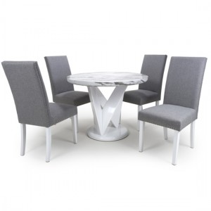 Saturn Round Gloss Grey White Marble Effect Dining Table With 4 Randall Silver Grey Linen Dining Chairs