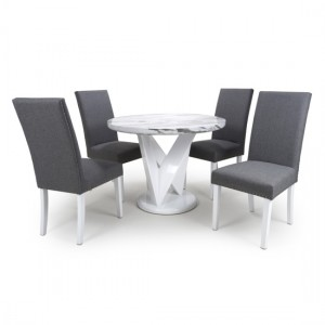 Saturn Round Gloss Grey White Marble Effect Dining Table With 4 Randall Steel Grey Linen Dining Chairs