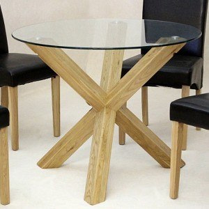 Saturn Small Round Glass Dining Table With Oak Wooden Legs
