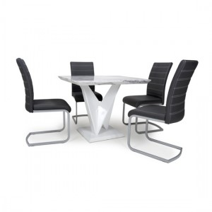 Saturn Square Gloss Grey White Marble Effect Dining Table With 4 Callisto Leather Black Dining Chairs
