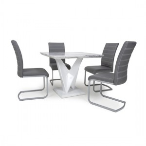 Saturn Square Gloss Grey White Marble Effect Dining Table With 4 Callisto Leather Grey Dining Chairs