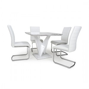 Saturn Square Gloss Grey White Marble Effect Dining Table With 4 Callisto Leather White Dining Chairs