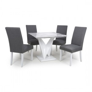 Saturn Square Gloss Grey White Marble Effect Dining Table With 4 Randall Linen Steel Grey Dining Chairs