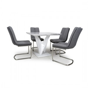 Saturn Square Gloss Grey White Marble Effect Dining Table With 4 Triton Linen Light Grey Dining Chairs
