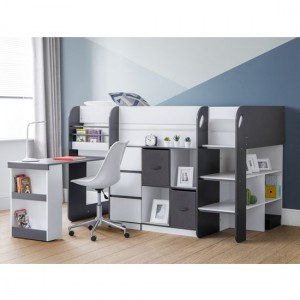 Saturn Wooden Midsleeper Childrens Bed In White And Charcoal Grey