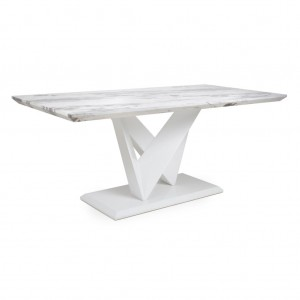 Saturn Large Marble Effect Top High Gloss Grey And White Dining Table