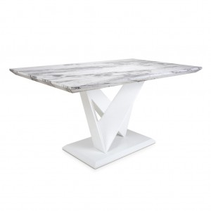 Saturn Medium Marble Effect Top High Gloss Grey And White Dining Table