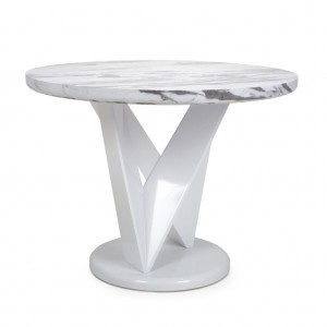 Saturn Round Marble Effect Top High Gloss Grey And White Dining Table